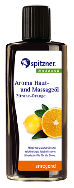 Aroma-Haut- und Massageöl · Zitrone-Orange · anregend · Spitzner · 190 ml Flasche