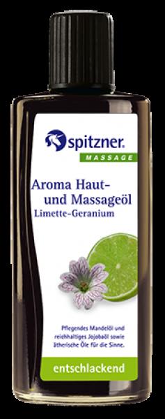 Aroma-Haut- und Massageöl · Limette-Geranium · entschlackend · Spitzner · 190 ml Flasche
