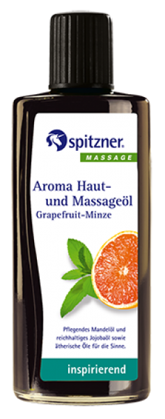Aroma-Haut- und Massageöl · Grapefruit-Minze · inspirierend · Spitzner · 190 ml Flasche