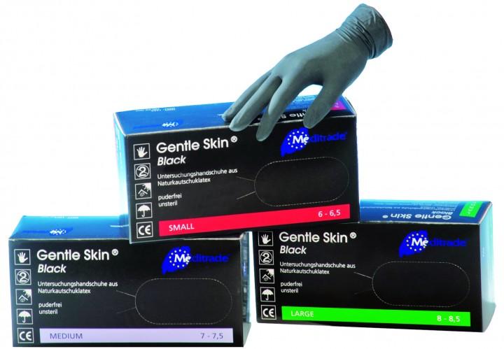 Gentle Skin Black · Latex - Untersuchungs - Handschuh · mikrogeraut · unsteril · puderfrei · schwarz