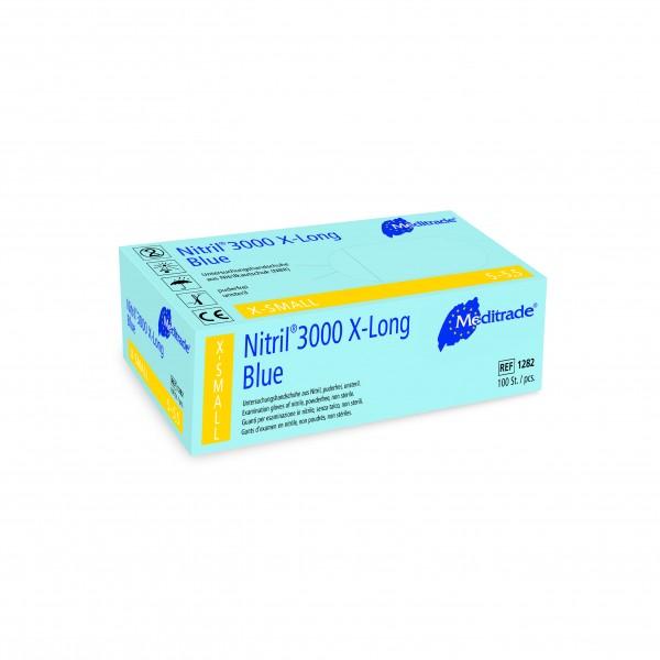Nitril 3000 X-Long Blue · Nitril - Untersuchungs - Handschuh · extralang, 29 cm · mikrogeraut · unst