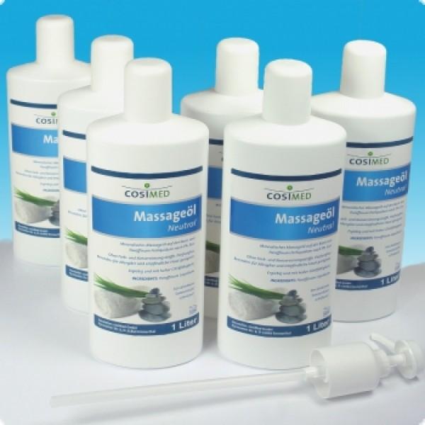 cosiMed Massageöl neutral 6 x 1 Liter mit Pumpe